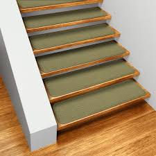 How To Get Set of <b>15</b> Skid resistant <b>Carpet Stair Treads</b> Olive Green ...