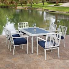 patio wood dining table exterior stone surprising white and blue chair also table on the stone paver flooring