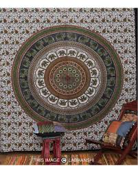 Small Picture Green Indian Elephant Tapestry Mandala Wall Hanging Home Decor