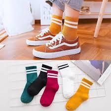 <b>Women</b> Socks <b>Cotton Korean Style</b> Ladies Stripe Ankle Socks ...