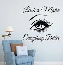 Eyelashes Wall Sticker Eyebrows Lashes <b>Vinyl Wall Decal Beauty</b> ...