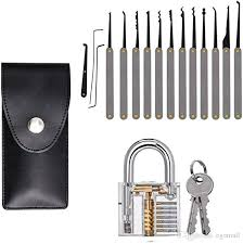 lock 12Pcs <b>Unlocking</b> Lock Pick <b>Tool Set</b> Key Extractor Transparent ...