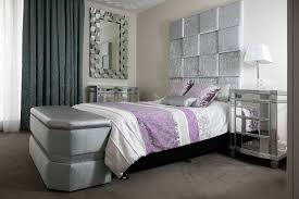 Silver And Purple Bedroom Feature Square Paneled Bed Head Silver And Purple Bedroom