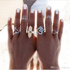 New <b>6pcs</b>/Set Vintage Punk Ring Set <b>Hollow Antique Silver</b> Plated ...
