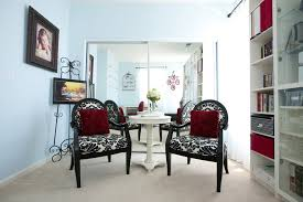 black and white chairs with red accents ikea billy bookcase silhouette frames blue white home office