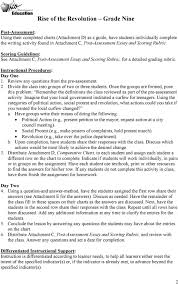 rise of the revolution grade nine pdf divide the class into groups of two or three students once the groups are formed