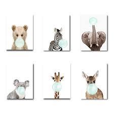 SURELIFE Lovely Nursery Wall Art <b>Animal</b> Blowing Bubbles <b>Canvas</b> ...