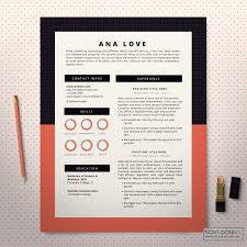 resume template cv template design cover letter modern pop resume template coral