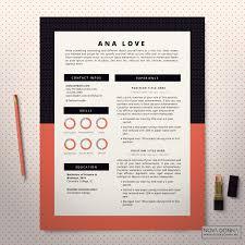 resume template cv template design cover letter modern pop resume template coral