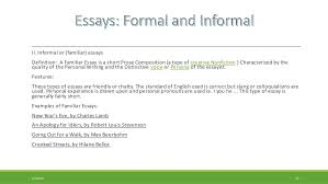 formal essay and informal familiar essay examples of formal essays the essays by francis bacon example of formal essay writing
