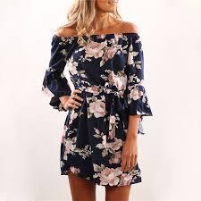 <b>Women Dress</b> 2019 Summer <b>Sexy</b> Off Shoulder <b>Floral</b> Print Chiffon ...