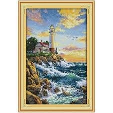 The Lighthouse Counted <b>Cross</b> Stitch 11CT Picture <b>Printed 14CT</b> ...