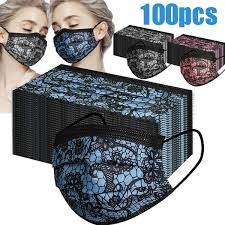 <b>100PCS Fashion Lace</b> Face Mask Breathable Protection 3-Layer ...