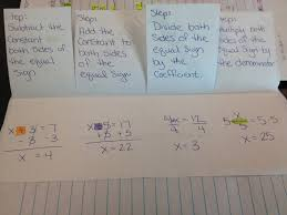 teaching in special education one step equations next we filled out the fold able each type of one step equation it is the kind of problem not the operation you perform to solve for x
