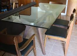 room glass table wooden base