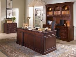 and classic brown full bull nose wooden above floral pattern rug combination with stained cabinet drawers awesome wood office desk classic