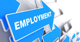 membership options sponsored jobs in employment business background blue arrow employment slogan on a grey background