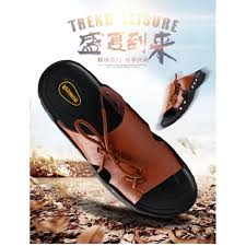 New Summer Beach <b>Mens Casual Leather Sandals</b> Shoes Anti-slip ...