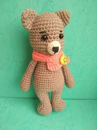 Coffee brown toy teddy Knitted toy bear Crochet toy teddy Crocheted ...