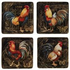 Shop Certified International Gilded <b>Rooster</b> Dinner Plates (Set of 4 ...