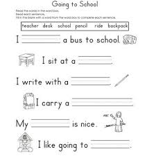 Fill in the Blank WorksheetsGoing to School Fill-In-The-Blank Reading Worksheet