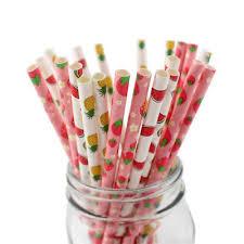 25PCS Paper <b>Drinking Straws Fruit</b> Flamingos Biodegradable ...