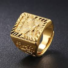 Eagle <b>Men's</b> Ring Gold Adjustable Chinese Letter Jewelry Finger ...