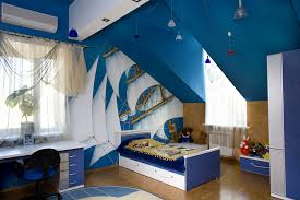 Kids Bedroom Boys Bedroom Boy Kids Bedroom With Blue Sloped Ceiling And Small Blue