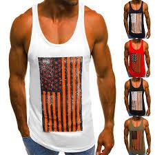 Men Sport T-Shirt Sleeveless Top <b>National Flag</b> 3D <b>Printing</b> Vest ...