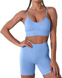 <b>Women Seamless Yoga</b> Set 2 Piece Workout Sport Bra with High ...