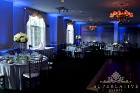 light blue uplighting at evergreen country club in haymarket virginia blue wedding uplighting