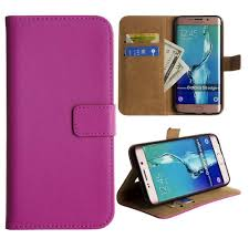 <b>Genuine Leather</b> Folding Wallet Case, <b>Hot</b> Pink for Samsung Galaxy ...