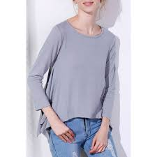 <b>Fashionable Scoop Neck Solid</b> Color Asymmetric T-Shirt For Women