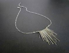 Statement <b>necklace</b> / <b>fringe necklace</b> / sterling <b>silver 925</b> hammered ...