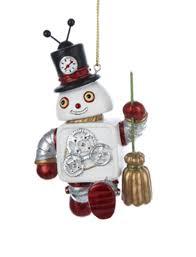 household dining table set christmas snowman knife: quot blast off robot snowman holding broom christmas ornament walmartcom