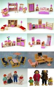 details about dolls house furniture pink wooden set people dolls ce approved toy family building doll furniture