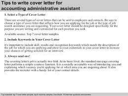 accounting administrative assistant cover letter      tips to write cover letter for accounting administrative assistant