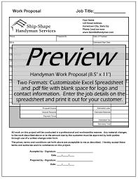 handyman invoice work order change order mark up cost  work proposalpdf handyman work propoditablexls