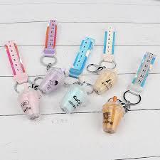 <b>Pearl milk</b> tea keychain pendant <b>Cute</b> girl heart Creative anti-floating ...