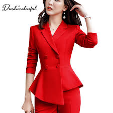 Women Red blazer Slim <b>Spring Autumn new Elegant</b> Office Lady ...