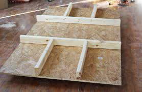 step one build the table body we had our osb panels cut down to the 34 x 48 x 78 size they typically come sized to 34 x 48 x 96 abm office desk diy