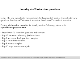 laundry staff interview questions
