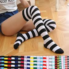 <b>Fashion Cute</b> Women <b>Girls</b> Kawaii Lolita <b>Cotton</b> Long Striped Thigh ...
