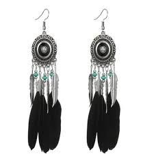 2019 <b>New Vintage</b> Silver Colorful Feather Drop <b>Earrings For</b> Women ...