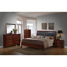 emily bedroom set light oak: emily contemporary bedroom set with bed dresser mirror  night stands chest