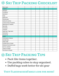 the complete ski trip packing list printable ski trip packing list page 2