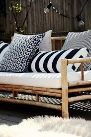 nautical patio black and white and navy striped pillows on simple patio furniture with woven blankets black and white patio furniture