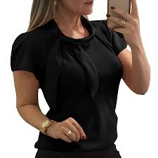Pukemark <b>Women's Summer Casual</b> Work Office <b>Shirts</b> Short Sleeve ...