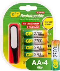 Купить <b>GP AA</b> (HR6), <b>2700</b> мАч 4 шт. + USBLED фонарь ...
