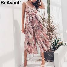 BeAvant <b>Bohemian</b> floral print jumpsuit women Elegant off shoulder ...